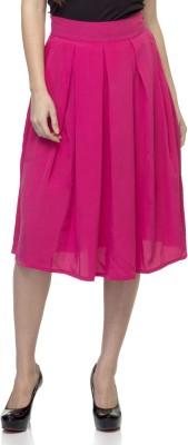Tara Lifestyle Solid Women's Pleated Pink Skirt
