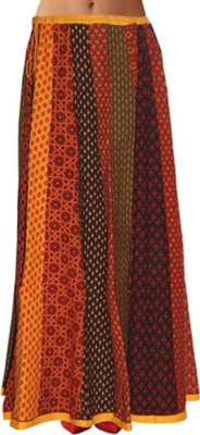 Pezzava Printed Women's Pleated Red, Black Skirt at flipkart