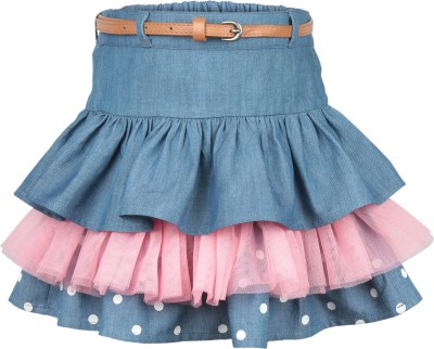 My Lil,Berry Polka Print Girl's Gathered Blue Skirt