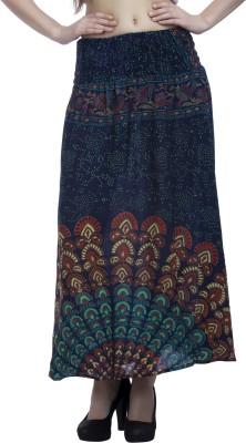 Indi Bargain Printed Women's A-line Blue, Green Skirt