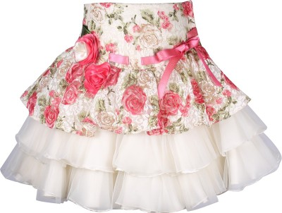 Cutecumber Floral Print Girls A-line Pink Skirt