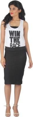 Am-N-More Woven Women's Pencil Black Skirt