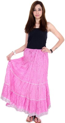 Ooltha Chashma Self Design Women's Broomstick Pink Skirt