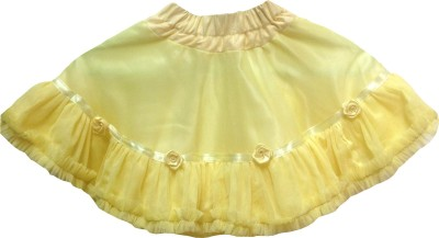 Little Leaf Self Design Girl's Gathered Yellow Skirt