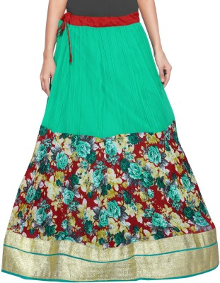 Admyrin Printed Women's Wrap Around Light Green, Maroon Skirt at flipkart