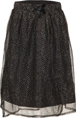 Miss Alibi by Inmark Self Design Girl's Regular Black Skirt
