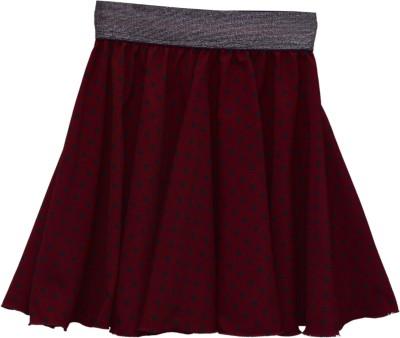 GraceDiva Polka Print Girl's Pleated Maroon Skirt