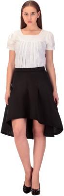 CHKOKKO Solid Women's A-line Black Skirt