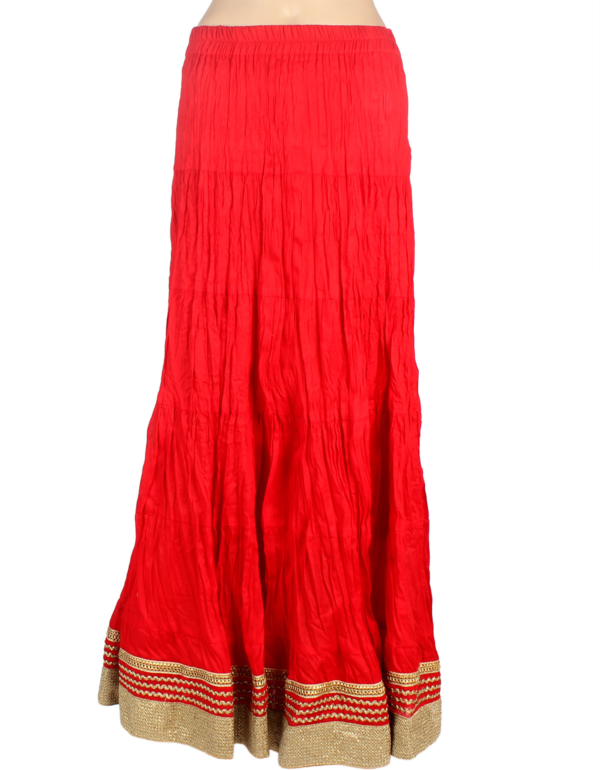 Mina Bazaar Solid Womens A-line Red Skirt