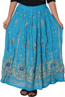 Fashionmandi Printed Women's A-line Light Blue Skirt