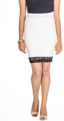 Young Trendz Embellished Women's Pencil White Skirt at flipkart
