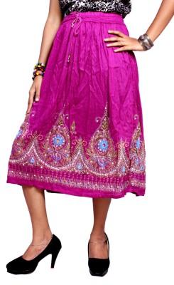 Krishna Mart Embroidered Women's Regular Pink Skirt