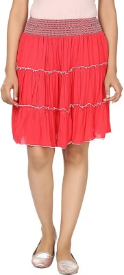 Visach Solid Women's Straight Red Skirt