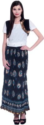 Honeybum Printed Women's Straight Blue Skirt