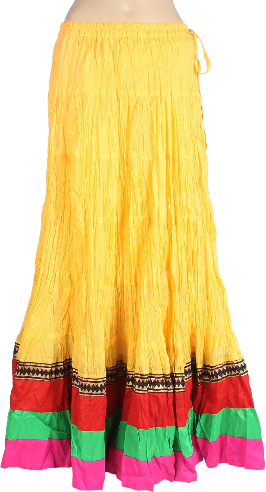 Mina Bazaar Solid Womens A-line Yellow Skirt
