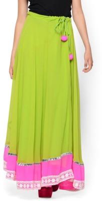 Hoor Solid Women's A-line Light Green Skirt