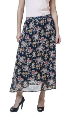 Rute Floral Print Women's Straight Blue Skirt