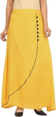 Pops N Pearls Solid Women's Tulip Yellow Skirt