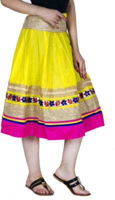 Ooltah Chashma Embellished Women's A-line Yellow, Pink Skirt