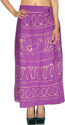 Rajrang Checkered Women's Wrap Around Purple Skirt at flipkart