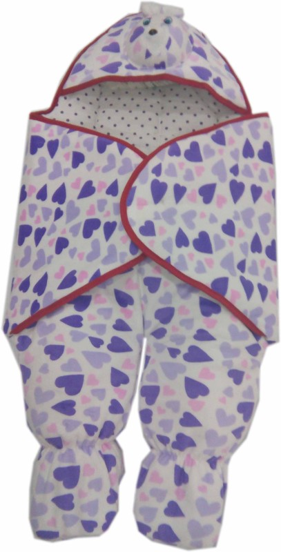 Baby's Clubb Baby Wrapper Sleeping Bag(White, Purple, Multicolor)