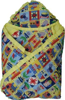 Koochie Koo Multi Designs Check Printed Yellow Baby Wrap With Velcro Sleeping Bag