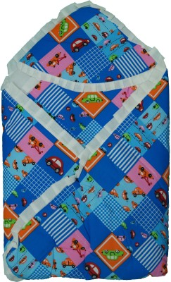 Koochie Koo Car Check Printed Blue Baby Wrap With Velcro Sleeping Bag