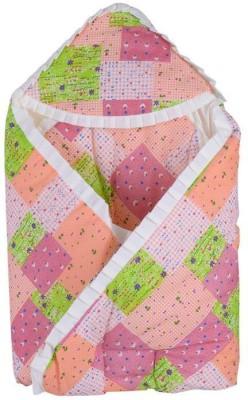 Koochie Koo Flower Check Printed Designs Peach Baby Wrap With Velcro Sleeping Bag