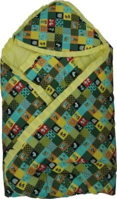 Koochie Koo Mix Designs Check Printed Green Baby Wrap With Velcro Sleeping Bag