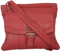 Attachover Services Women Red Genuine Leather Sling Bag