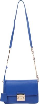 RI2K Girls, Women Blue Genuine Leather, Polyester Sling Bag
