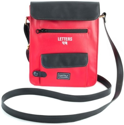 Happily Unmarried Girls Casual Red Leatherette Sling Bag