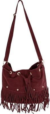 abrazo Girls, Women Maroon Velvet Sling Bag