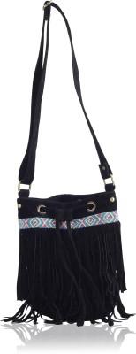 Carry on Bags Girls Black Velvet Sling Bag