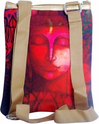 Triveni Women Casual Red PU, Canvas Sling Bag