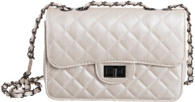 Peaubella Girls, Women White PU Sling Bag