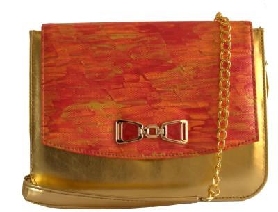 Demure Women Formal Red, Orange, Gold Canvas, PU Sling Bag