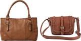 Lychee Bags Women Brown, Tan PU Tote