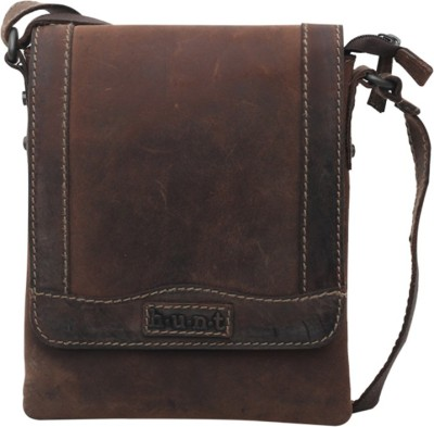 Hunt Men Casual Brown Genuine Leather Sling Bag