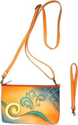 Balona Women, Girls Orange Genuine Leather Sling Bag