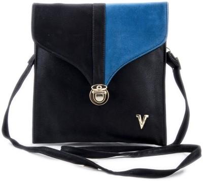 Voaka Girls, Women Black, Blue Leatherette Sling Bag