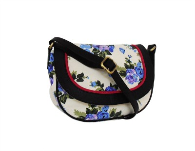 Carry on Bags Girls Casual White Canvas, PU Sling Bag