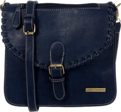 Lino Perros Women Blue Leatherette Sling Bag