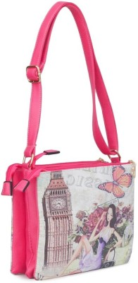 Penguin Women Evening/Party Pink PU Sling Bag