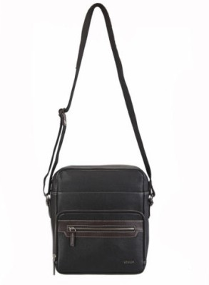 Adamis Men Casual Black Genuine Leather Sling Bag
