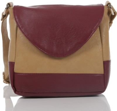 Ebry Girls Beige, Maroon Genuine Leather Sling Bag