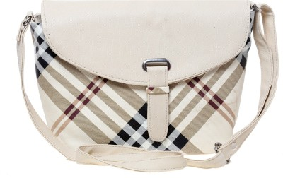 Tripssy Women White Leatherette Sling Bag