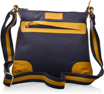 Hidegear Women Casual Blue, Yellow Canvas, Genuine Leather Sling Bag