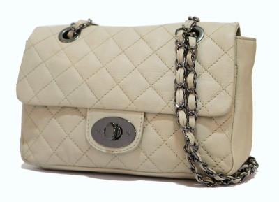 Gripp Women, Girls Beige Genuine Leather Sling Bag