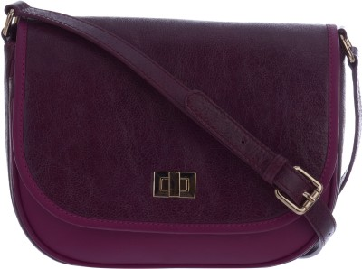 Traversys Girls Casual Purple Genuine Leather Sling Bag
